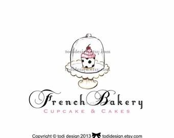 French Bakery  Illustrated Premade Logo design- Cake Boutique
