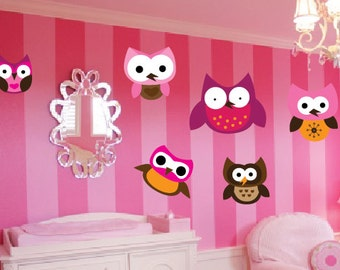 Set of 6 Cute Owl Wall Decals - Choose Your Own Size & Owl wall decals | Etsy