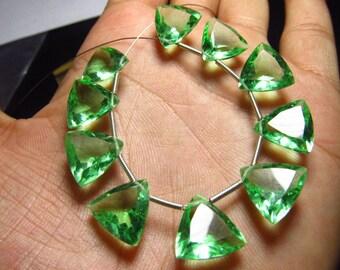 5 Matched Pair - GREEN FLOWRITE QUARTZ - Super Sparkle Trillion Cut 12x12 mm Size
