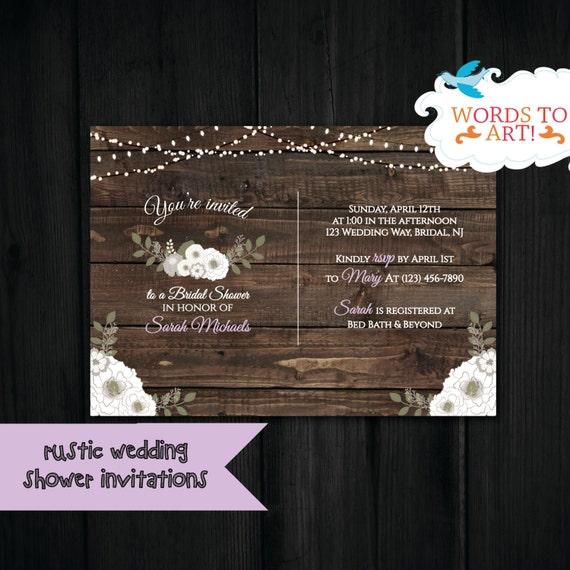Custom Rustic Wedding Invitations: CUSTOM Rustic Wedding Theme Bridal Shower Invitations Rustic