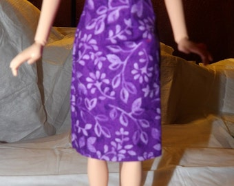 Fashion Doll Coordinates Bright purple & lilac floral a-line skirt - es345