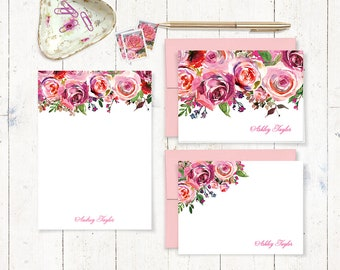 complete personalized stationery set - PINK WATERCOLOR ROSES - folded and flat cards - notepad - flowers stationary gift set