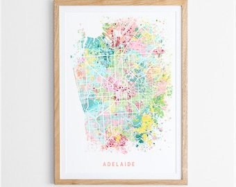 Adelaide Map Print - Abstract Map / South Australia / City Print / Australian Maps / Giclee Print / Poster