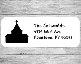 Custom Address Label Silhouette Church  LW1003
