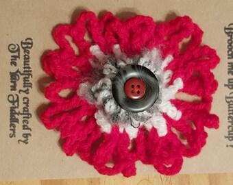 Handmade crochet flower button brooch with red petals