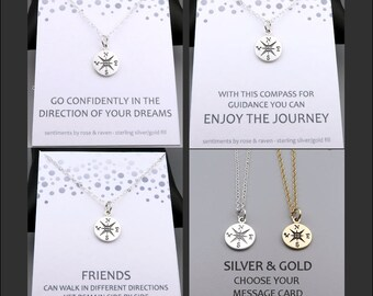 Compass Necklace in silver or gold - message card - travel jewelry - enjoy the journey - go confidently - friends - graduation gift