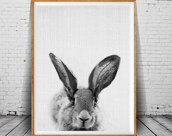 Rabbit Print, Bunny Print, Bunny Wall Art, Nursery Decor, Rabbit Wall Art, Black and White, Animal, Printable Art, Funny Bunny, Wall Art