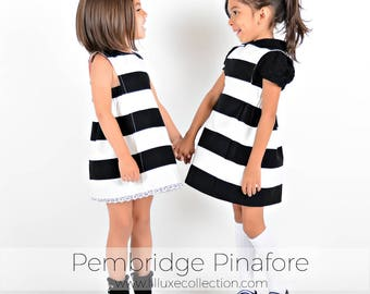 Pembridge Pinafore Button back or Adjustable strap style back - Vintage Modern quick sew pinafore pdf sewing pattern