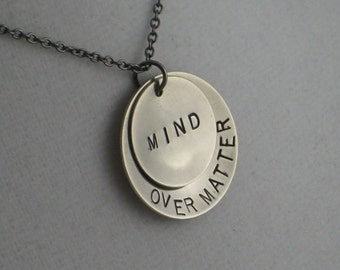 MIND OVER MATTER Double Pendant Necklace - Inspirational / Motivational Necklace on Gunmetal Chain - New Year's Resolution Jewelry - Strong