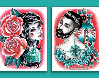 Set Of TWO Separate Art Prints Nautical Romance Down With the Ship Set - 5x7, 8x10, or Apprx. 11x14 inch Prints - Tattoo Parlor Decor