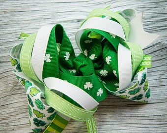 St. Patrick's Day Layered Boutique Bow in Shamrocks Greens White