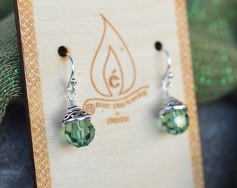 Party at Muckross House Irish Celtic Knot Earrings in Erinite Green with Celtic Bead Cap and Large Faceted Swarovski Crystals