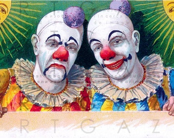 Victorian Circus Twin Clowns. STUNNING CIRCUS Illustration. Digital Circus Download. Vintage French Clowns Printable Postcard .