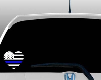 Blue lives matter heart American flag police car decal