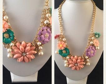 Multi Flower Gold statement necklace