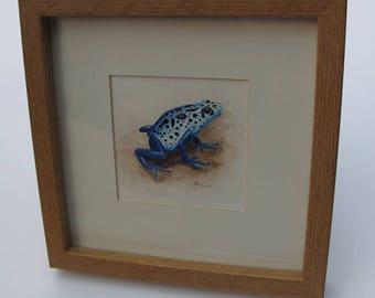 Blue frog original framed water colour painting - Dendrobates tinctorius
