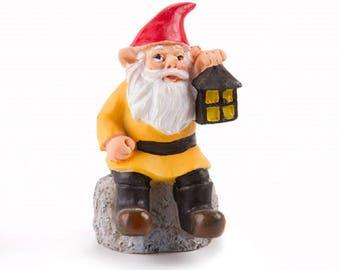 Miniature garden Gnome with Lantern - Resin - 3.5 inches - Resin - Fairy Garden - Yard and Garden mini - doll house - terrarium