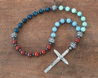 Colorblock Gemstone Christian Rosary. Anglican Prayer Beads. Modern Pocket Rosary. antiqued silver finish. Religious Gift  (178R)