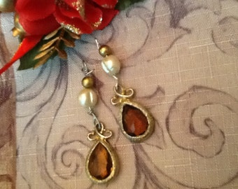 Upcycled Beaded Pearl Earrings Made With Vintage Beads Jewelry