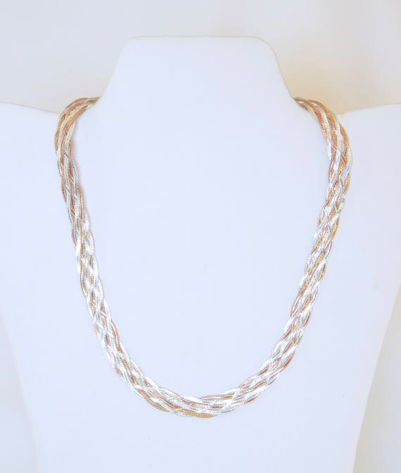 925 Sterling Silver And Rose Gold Wash Braided Necklace Made