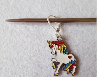 Silver Plated Enamel Rainbow Unicorn Stitch Marker/Progress Keeper for Knitting or Crochet