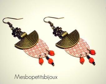 Oval Orange earrings, Japanese