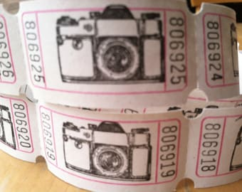 Travel Camera Vintage Style Hand Stamped Carnival Tickets