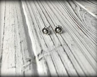 Organic Sterling Silver Flower Earrings, Posts, Studs