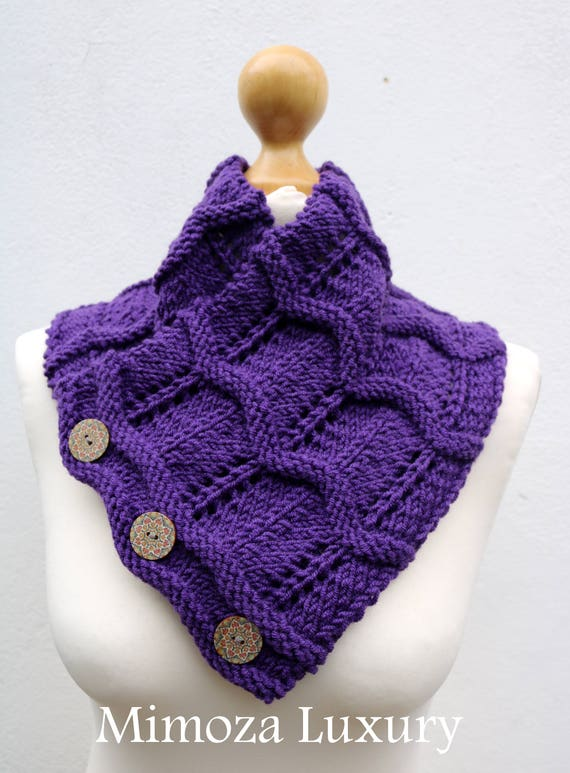 Purple Merino Wool Hand Knitted Scarf, Knit scarf wrap purple Scarf, Shawl, Wrap, Neck warmer, knit scarf, purple women's knit scarf, collar
