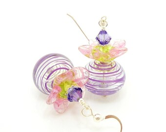 Purple Earrings, Flower Earrings, Lampwork Earrings, Pastel Earrings, Blown Glass Earrings, Glass Bead Earrings, Hollow Glass Earrings