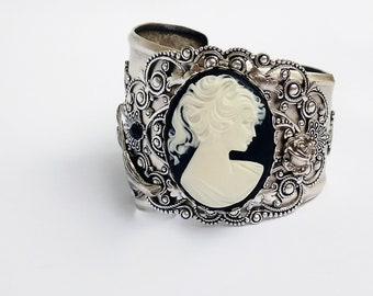 Victorian Bracelet Silver Gothic Jewelry Cameo Cuff Bracelet Baroque jewelry Silver Filigree Bracelet romantic statement cuff