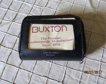 Vintage New Old Stock Buxton Genuine Black Leather Accordion Double Zipper Wallet