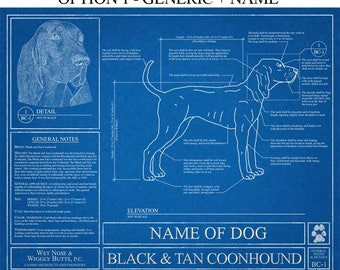 Personalized dog blueprints custom pet by wetnosewigglybutts personalized black and tan coonhound blueprint black and tan coonhound art coonhound wall art coonhound gift coonhound print malvernweather Gallery