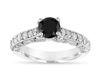 1.77 Carat Black Diamond Engagement Ring, Vintage Wedding Ring, Anniversary Ring 14k White Gold Unique Handmade Certified