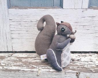 Stuffed Squirrel Plush, Bennett, Handmade Whimsical Soft Sculpture Squirrel, Squirrel Doll