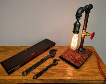 Steampunk Design Pipe Desk Lamp   With Optional Valve Switch   Great Gift