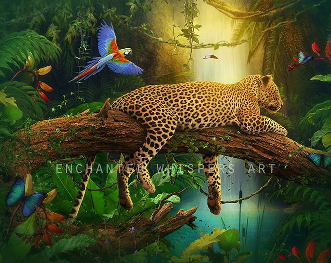 leopard art print, jungle cat print, jungle landscape, tropical landscape, parrot art print, fantasy art print, colorful art, nature print