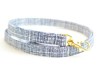 Navy Blue and White Skinny Fabric Lanyard - Thin Lanyard - 1/2 Inch Wide Key Necklace - 15.5-19.5 Inch Long Key Strap - Teacher Lanyard