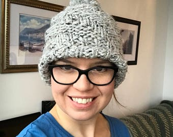 Ready to ship! Chunky Knit Winter Hat Toque with Pompom Light Grey