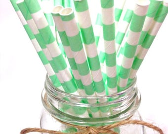 25 Cool Mint Stripes paper straws // baby bridal shower decorations // candy dessert buffet table // wedding / First birthday/new year party