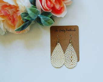 White and Gold faux leather earrings