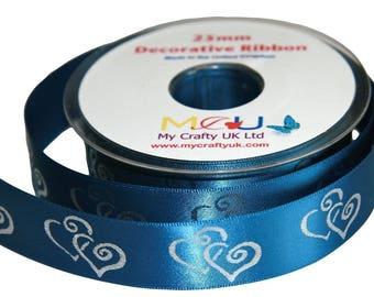 1 Metre of 25mm Double Heart Ribbon - Steel Blue - Wedding Anniversary Decoration Cake
