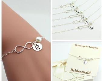 Free Shipping, Set of 6 Infinity bracelets, bridesmaid sterling silver bracelet, personalized, handmade, gift for her, Christmas gift
