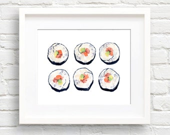 Watercolor Sushi - Art Print - Kitchen Wall Decor - Painting