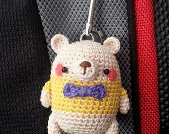 Amigurumi Mini Bear with Yellow Shirt and Purple Ribbon