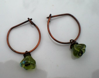 Oxidized Pure Copper Stirrup Earrings with Green Czech Glass Flowers