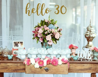 30th Birthday Decorations, Hello 30 Birthday Banner, 30th Birthday Banner, Happy Birthday Banner, Birthday Party, Dirty Thirty, Dirty 30