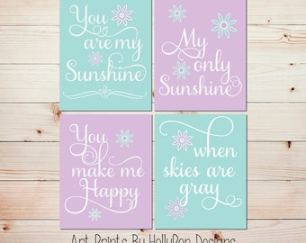 You are My Sunshine Art Prints Purple Aqua Mint Nursery Wall Art Set of 4 Prints Toddler Girls Room Decor Fancy Script Baby Girl Decor #1028