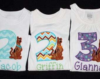 Personalized Scooby Doo Birthday Onesie or Tshirt