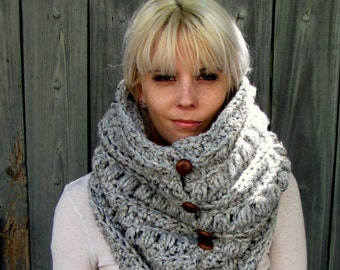 Chunky Cowl Thick Scarf Knit Cowl Gifts for Her Snood Handmade Unisex Cowl 6 Leather Button Wool Cowl Gray Tweed or Choose Your Color